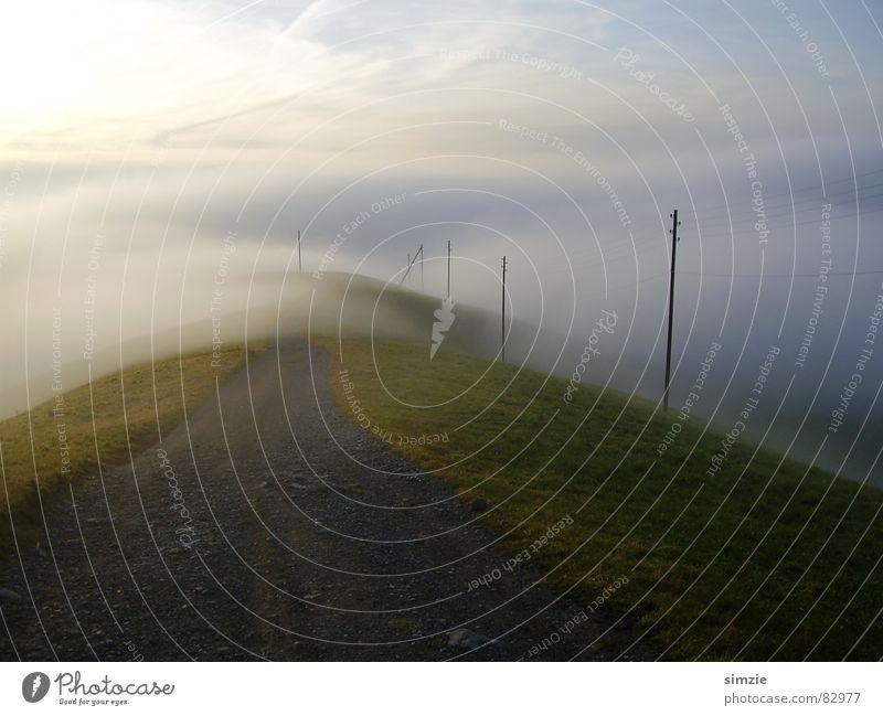 Nebelspaziergang Himmel Winter ruhig Wolken Berge u. Gebirge Wege & Pfade Spaziergang Schweiz ungewiss unsicher