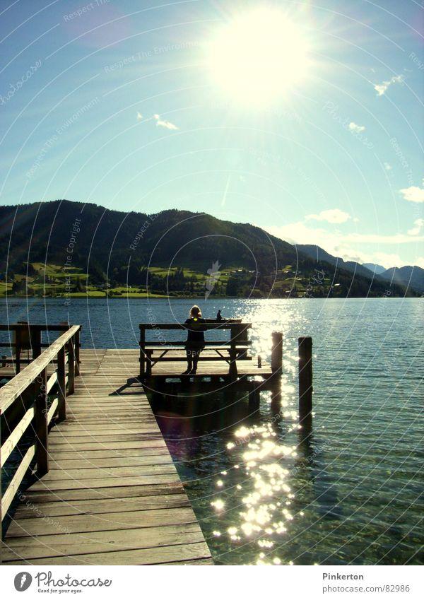 nachher Wasser schön Sonne Sommer Berge u. Gebirge Glück Holz Wärme warten Bank Aussicht Physik Klarheit heiß Steg