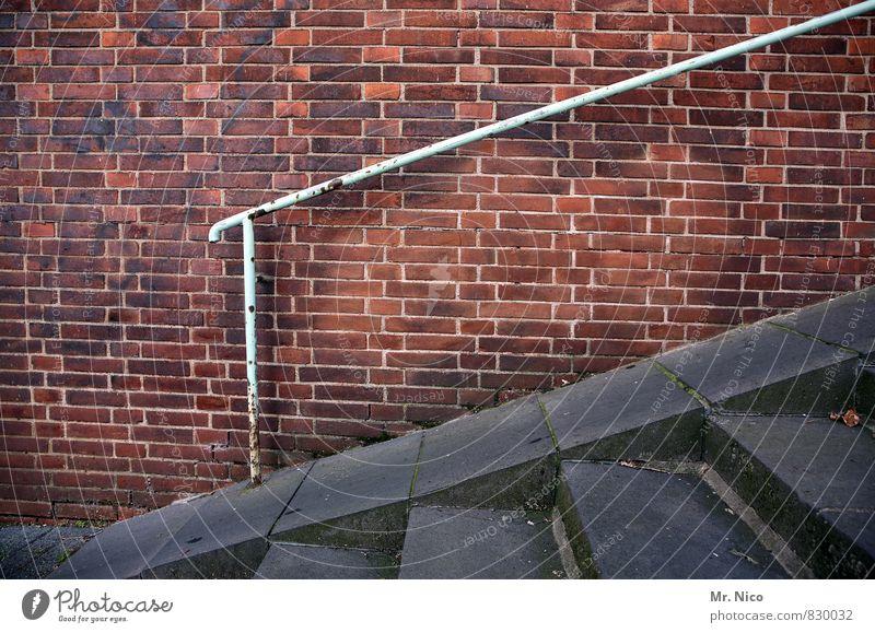 es geht aufwärts Stadt Platz Architektur Mauer Wand Treppe Fassade Fußgänger Wege & Pfade Brücke rot abwärts Treppengeländer Geländer steil Rost hilfestellung
