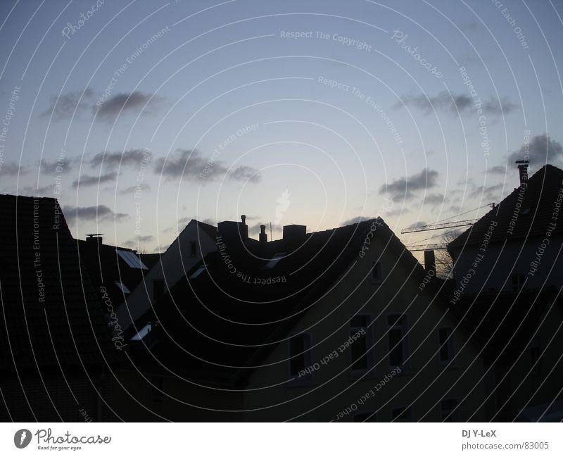 Großstadtromantik I Heimat Haus Wolken Sonnenaufgang Panorama (Aussicht) Stadt Stadtrand Morgen Stadtteil Himmel Winter Landkreis Osnabrück Kontrast Schornstein