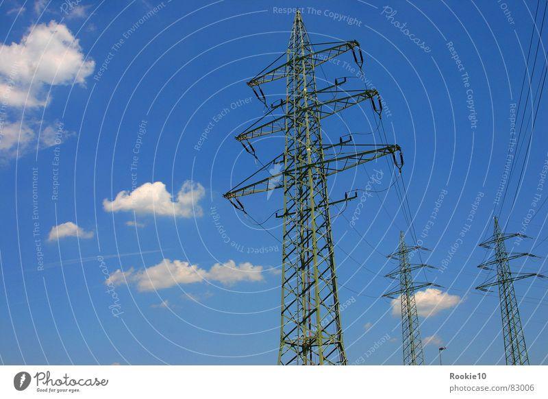 Giganten Elektrizität Wolken Luft Elektrisches Gerät Technik & Technologie Fremdkörper Natur Fortschritt störer Himmel stranger blau