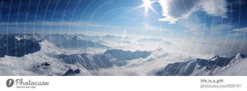Winter alpine panorama Himmel Natur Ferien & Urlaub & Reisen blau weiß Sonne Landschaft Wolken Ferne Winter Berge u. Gebirge Schnee Freiheit Tourismus Schönes Wetter Gipfel