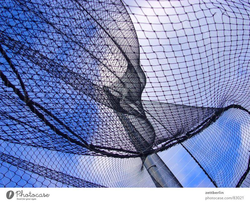 Wind II Himmel blau weiß Wolken schwarz Spielen Netz Zaun Verbindung Sturm Paradies Alkoholisiert Flucht Gitter Hochspannungsleitung
