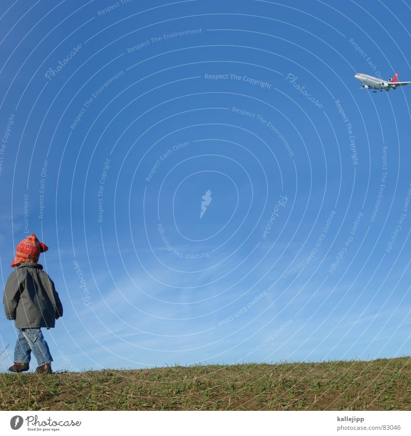 fluglotsin Kind Natur Himmel grün Freude Herbst Wiese Gras Schuhe klein Flugzeug gehen Umwelt Jeanshose Ziel Jacke