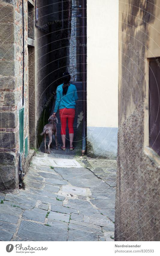 In den Gassen von Loro Ciuffenna Hund Mensch Frau Stadt Haus Tier dunkel Erwachsene Wand Leben Straße feminin Architektur Wege & Pfade Mauer Gebäude