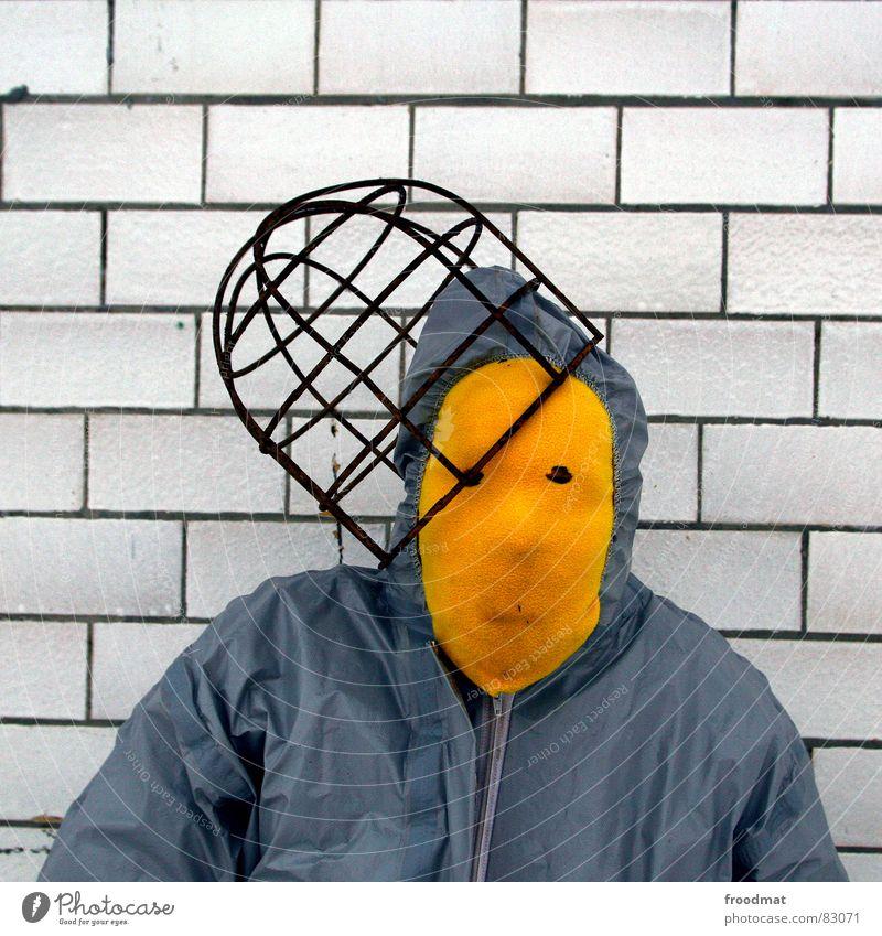 grau™ - mit hut gelb grau-gelb Anzug rot Gummi Kunst dumm sinnlos ungefährlich verrückt lustig Freude Quadrat Kunsthandwerk froodmat Maske Surrealismus abstrakt
