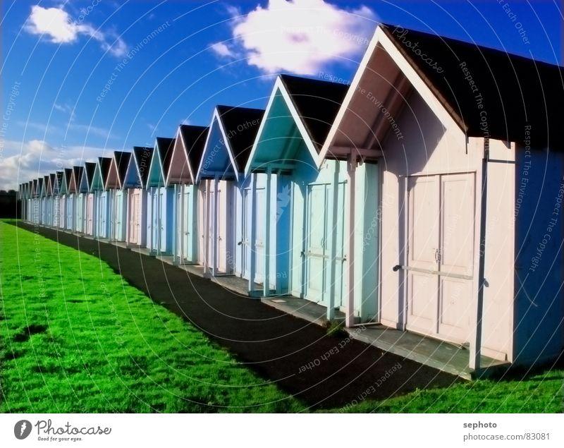 Ingeländ Himmel blau grün Sonne Sommer Strand Farbe Haus Wiese Gras Holz Küste rosa Fröhlichkeit leuchten Rasen