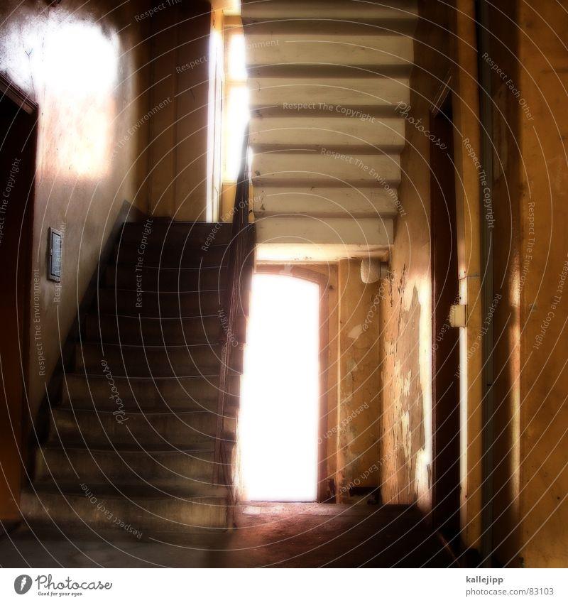 treppauf, treppab, zuletzt ins grab. Treppenabsatz Flur Hauseingang Hinterhof Eingang Ausgang Fenster Licht verfallen Tanzfläche Stadthaus Berlin-Mitte Hölle