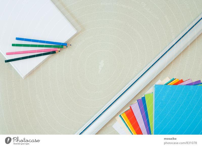 desktop blau weiß Architektur Stil grau Kunst Schule Arbeit & Erwerbstätigkeit Freizeit & Hobby Büro Design modern lernen Sauberkeit Papier Idee