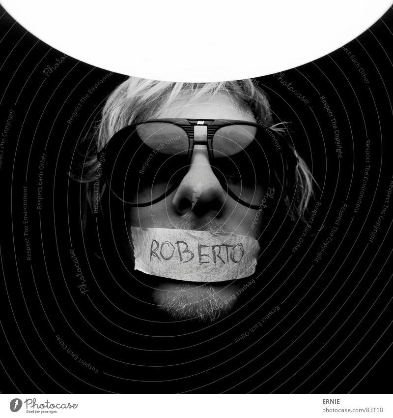 Robööörto Mann Erwachsene lustig Lampe blond Schriftzeichen einzeln Brille geheimnisvoll skurril Bart Typographie Sonnenbrille seltsam stumm spaßig