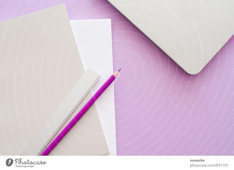 Lila Büro 3 feminin Stil Lifestyle rosa Arbeit & Erwerbstätigkeit Design Ordnung Büro modern lernen Papier planen violett Bildung schreiben positiv