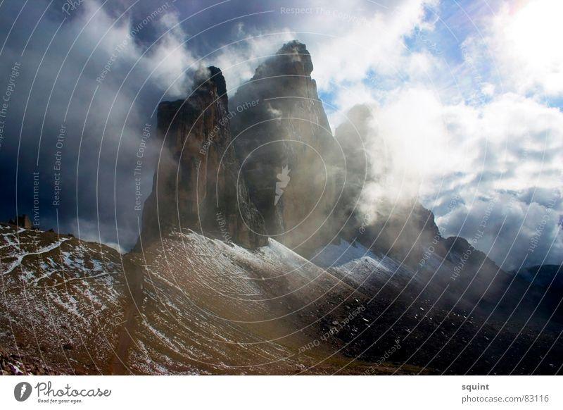 Die 3 Zinnen Wolken Berge u. Gebirge Stimmung Nebel Gipfel Bundesland Tirol Südtirol