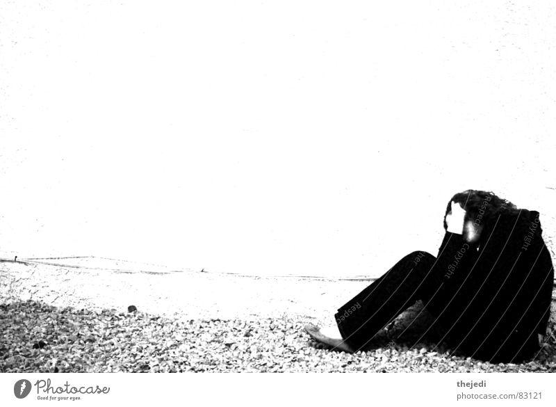 Alone Frau alone black white wide screen gravel Mauer
