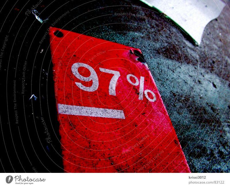 radikal reduziert verkaufen Schlussverkauf Finanzkrise Preisreduzierung Angebot rot Prozentzeichen dreckig Müll Scherbe 7 9 Wert Schrott Dinge Kosten Krimskrams