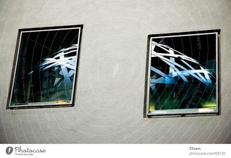 zweigeteilt zweiteilig Teilung 2 Fenster Reflexion & Spiegelung Zusammensein abstrakt Kunstwerk Muster Vernetzung Wand gelb modern windows Fensterscheibe Kugel