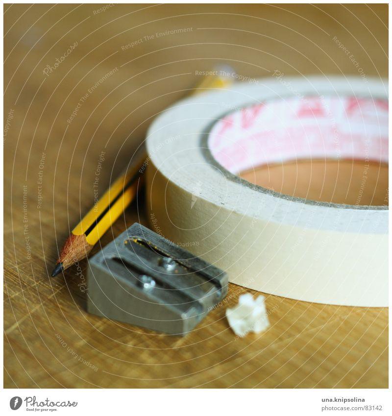 grundausstattung Holz Tisch Studium Spitze Spuren zeichnen Riss Schreibstift Bildung Bleistift Holztisch Haarschnitt Farbstift Schriftsteller Klebeband Beruf