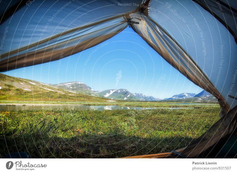 Gute Aussichten Wohlgefühl Zufriedenheit Sinnesorgane Erholung ruhig Ausflug Abenteuer Ferne Freiheit Expedition Camping Sommer Sonne Berge u. Gebirge wandern