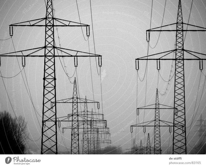 mitten.im.STROM Winter dunkel kalt grau hoch Energiewirtschaft Elektrizität mehrere Kabel Reihe viele Strommast