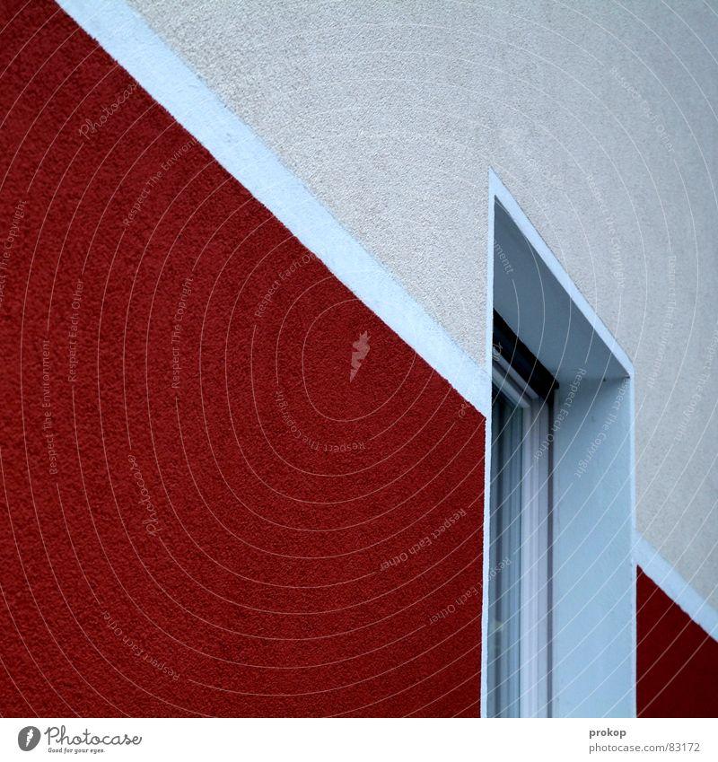 Pommes... Haus Wand graphisch Geometrie Sauberkeit rein Ordnung diagonal Fenster Streifen rot Mauer gereinigt anstößig Reinigen gepflegt planmäßig