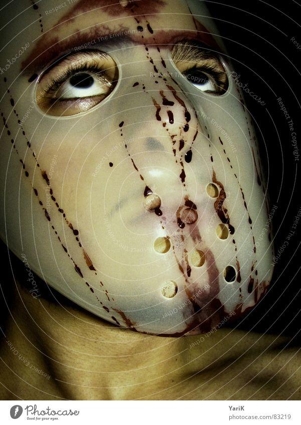 der etwas andere superheld Gesicht Auge dunkel Wassertropfen verrückt Filmindustrie Maske Krankheit Wut gruselig verstecken Blut böse Ärger spritzen Hass