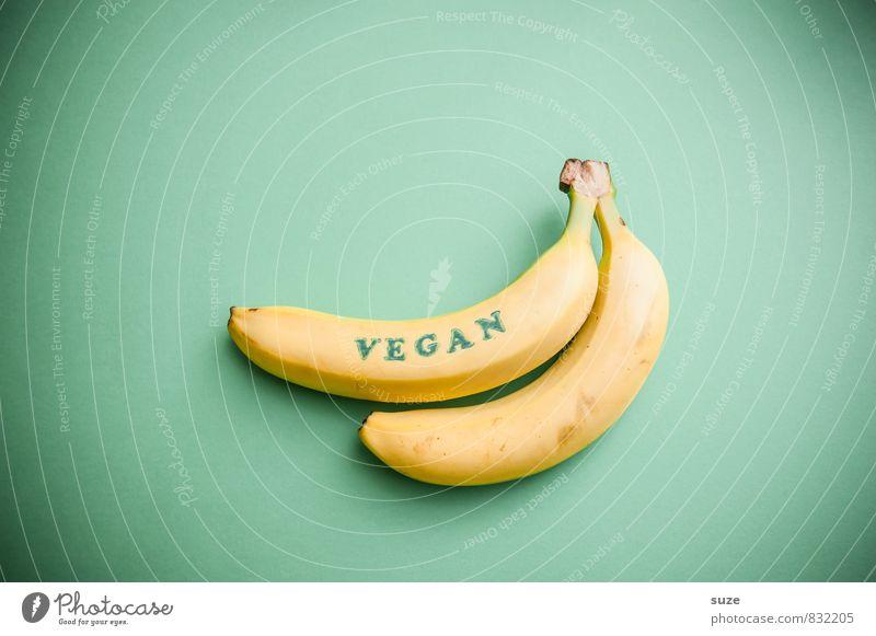 Hätten Adam und Eva mal weiterhin Bananen gegessen … grün Gesunde Ernährung gelb lustig Stil hell Lebensmittel Lifestyle Frucht frisch paarweise einfach
