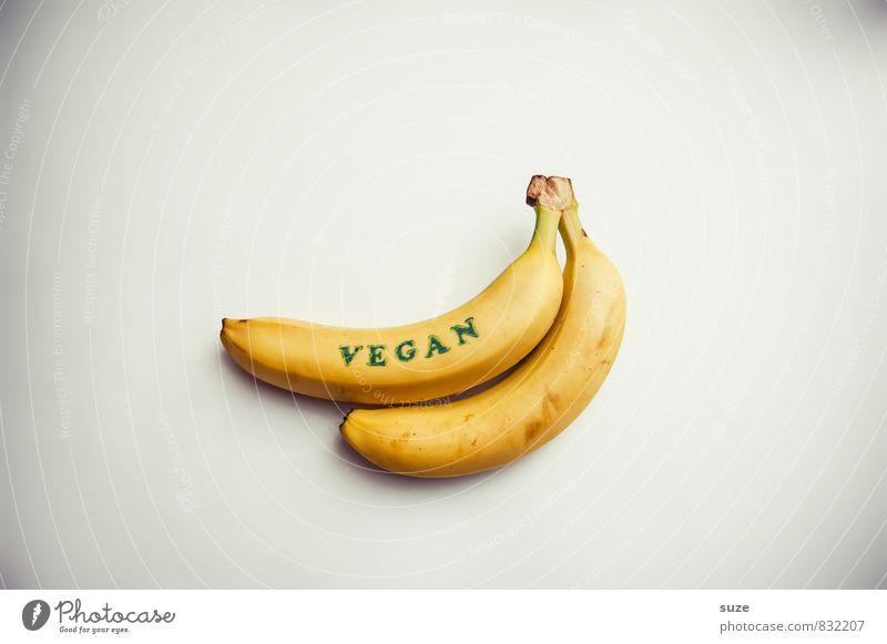 Das mir Banane! Lebensmittel Frucht Ernährung Frühstück Bioprodukte Vegetarische Ernährung Diät Lifestyle Stil Gesunde Ernährung Stempel Zeichen liegen einfach