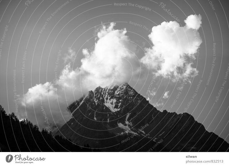 Piz Linard - Wolkengipfel Ferien & Urlaub & Reisen Landschaft Himmel Sommer Felsen Alpen Gipfel Schneebedeckte Gipfel bedrohlich ruhig Horizont kalt Engadin