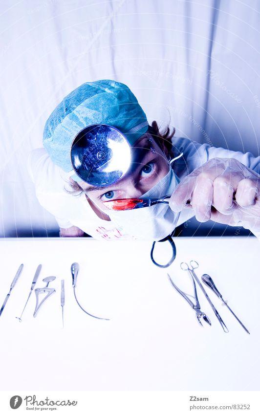 """doctor """"kuddl"""" - skalpell 3 verrückt Gesundheitswesen Arzt Spiegel Krankenhaus böse Werkzeug Blut Musikinstrument geschnitten Handschuhe Mundschutz Operation"""