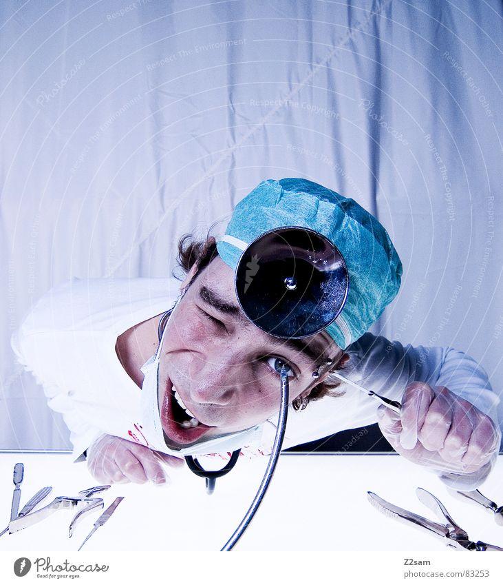 """doctor """"kuddl"""" - arbeitsunfall Auge Gesundheitswesen Arzt Spiegel Krankenhaus Werkzeug Blut Musikinstrument Unfall geschnitten Handschuhe Mundschutz Operation"""