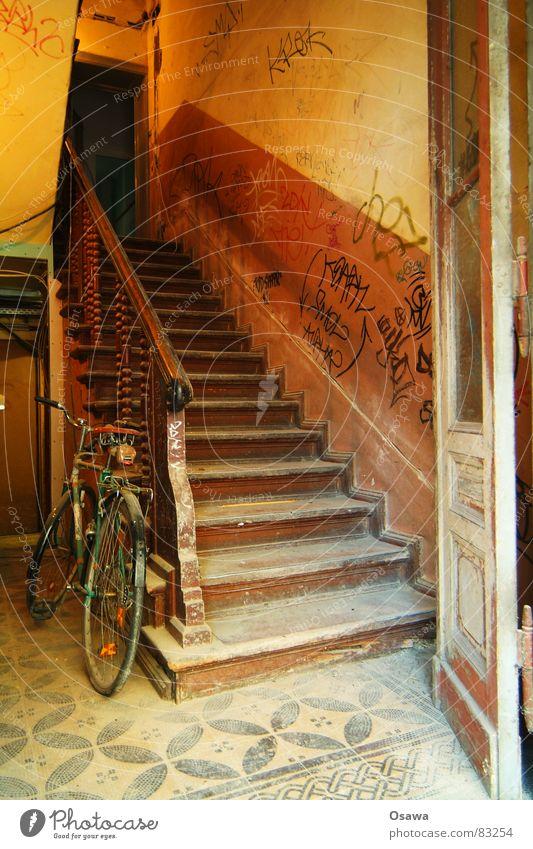 Treppenhaus Gebäude Eingang Flur Fahrrad Wand Holz Foyer Hirsche alt Zugang rustikal Etage Bauwerk aufsteigen Mauer Tor Geländer Fliesen u. Kacheln Tür