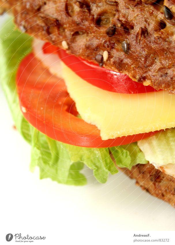 - Pausenbrot - Salatblatt Kochbuch Schinken Backwaren Belegtes Brot Vesper Frühstück Brotbelag Körnerbrot knusprig Vollkorn Korn Leben Vegetarische Ernährung