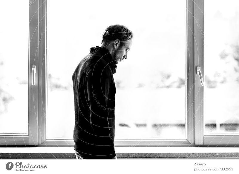 wo geht die Reise hin? elegant Stil maskulin Junger Mann Jugendliche 30-45 Jahre Erwachsene Natur Baum Sträucher Fenster Jeanshose Pullover kurzhaarig Bart