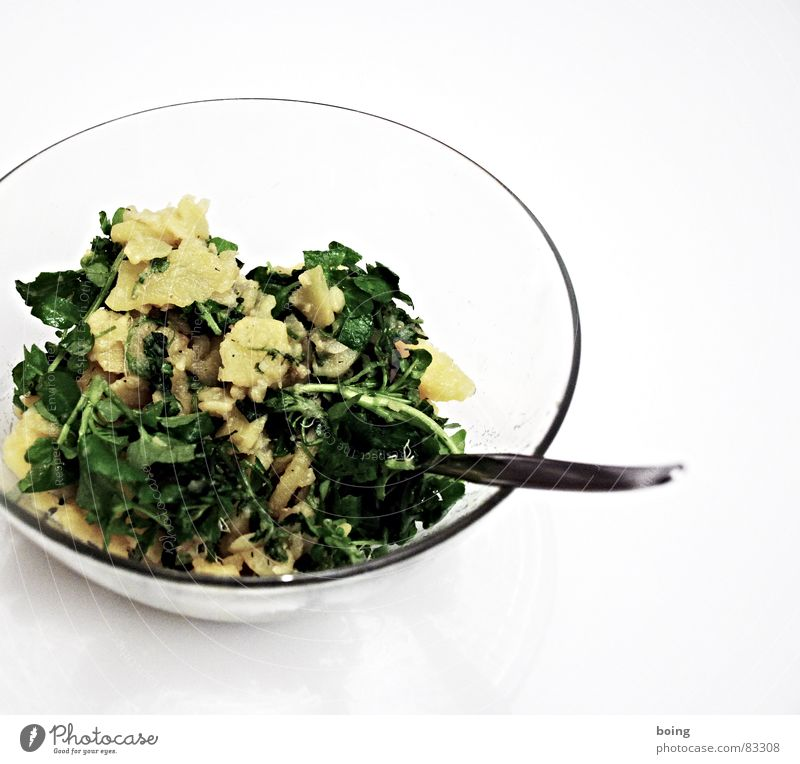Kartoffelsalat Gemüse Bildausschnitt Schalen & Schüsseln Anschnitt Salat Salatbeilage Gabel Löffel Blattsalat Snack Kräuter & Gewürze Kresse Dressing Portion