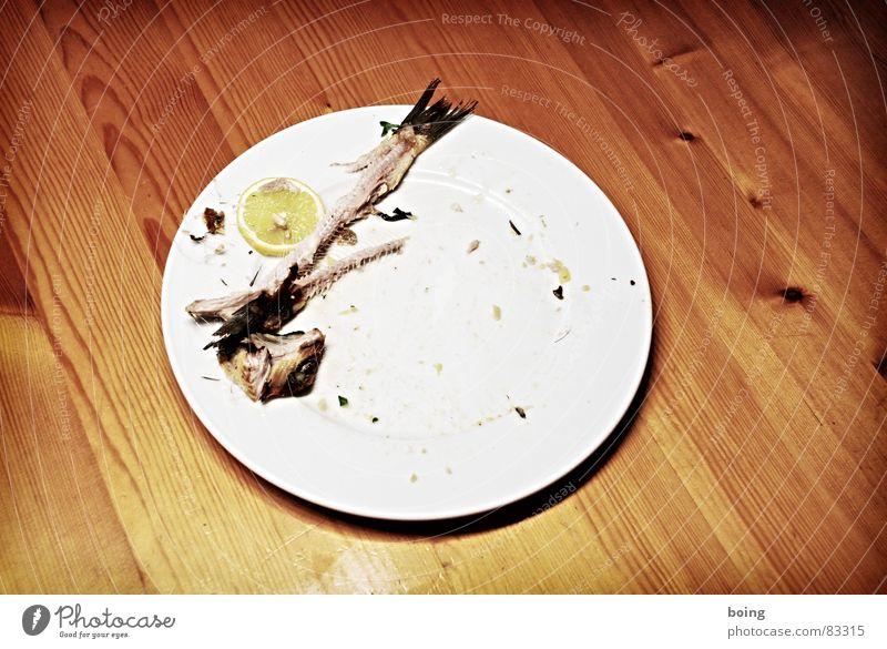 Wenn der Zufall zur Gewöhnheit wird Ernährung Fisch Gastronomie Restaurant Teller Fleisch Mahlzeit Zitrone Kräuter & Gewürze Flosse Feinschmecker Speisesaal Fischgräte Kantine Portion aufgegessen