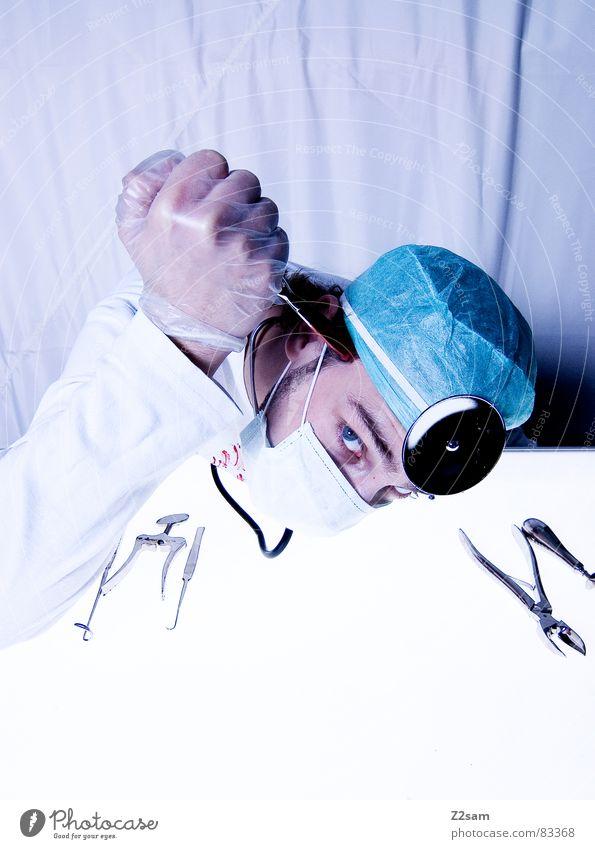 """doctor """"kuddl"""" - sui 2 Auge Aktion Gesundheitswesen Arzt Spiegel Krankenhaus Werkzeug gegen Blut Musikinstrument Unfall geschnitten Handschuhe Mundschutz"""