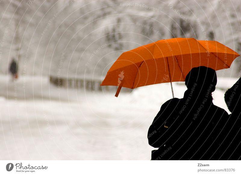 winterspaziergang Winterspaziergang gehen grau 2 Regenschirm Mensch orange trist Wege & Pfade Paar umbrella Schnee Niederschlag Straße street