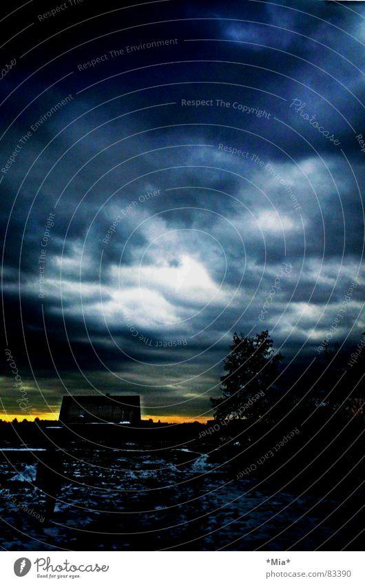Montag bedrohlich dunkel schwarz Einsamkeit unheilbringend Licht gelb Horizont Haus Baum Wolken Angst Himmel montagsstimmung blau Landschaft Mensch Schatten