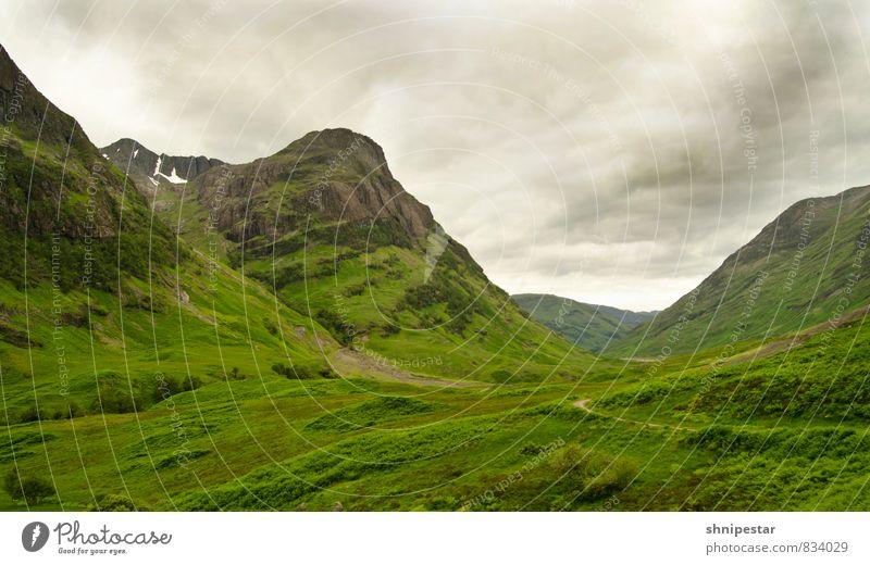 Stob Coire nan Lochan Ferien & Urlaub & Reisen grün Wolken Ferne Berge u. Gebirge Gras Felsen Tourismus wandern Europa Urelemente Abenteuer Gipfel