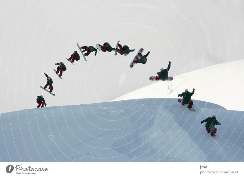 Frontside 720 Mute Jugendliche Freude Winter Schnee Stil Sport springen Freizeit & Hobby Nebel Geschwindigkeit hoch Schweiz Abheben Reihe aufwärts Doppelbelichtung
