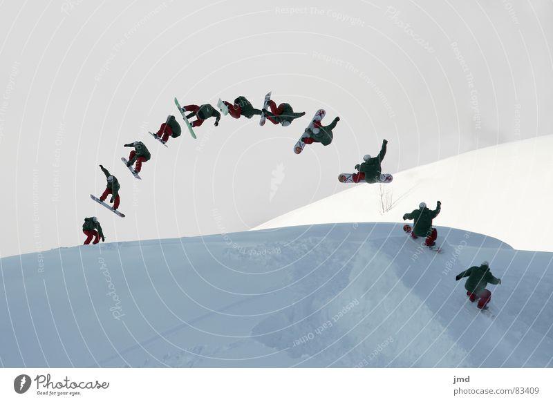 Frontside 720 Mute Snowboard Hoch-Ybrig springen Freizeit & Hobby Nebel Stil Geschwindigkeit Wintersport Reihe frontside grap mute Schnee Schatten Jugendliche
