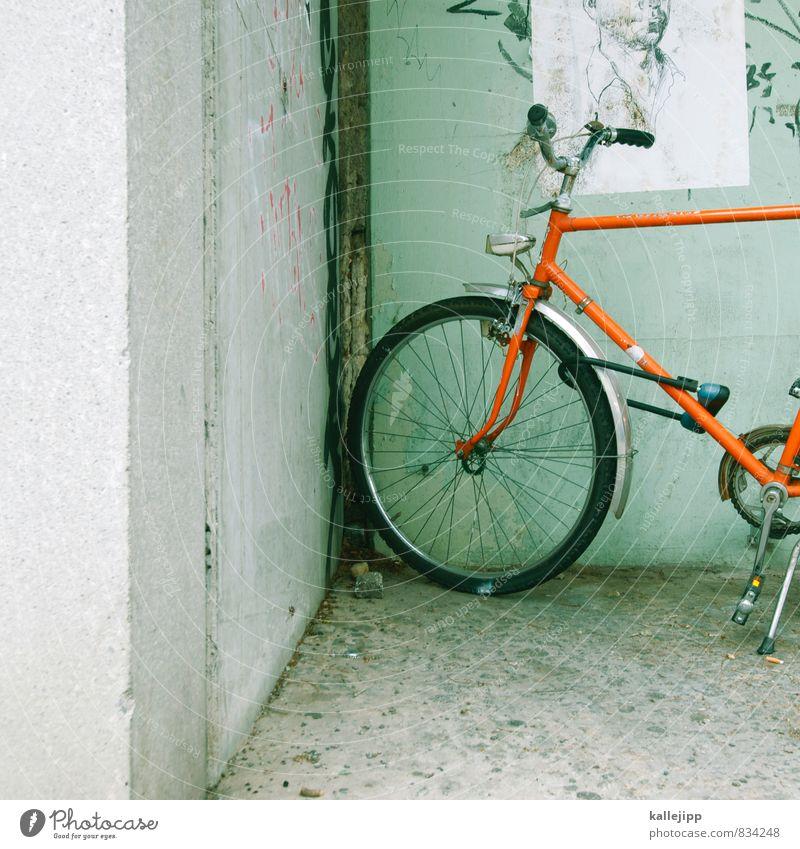 das runde in der ecke Kopf 1 Mensch Verkehr Fahrradfahren Graffiti stehen Eckstoß orange Zeichnung Lenker Schutzblech Fahrradlicht Fahrradreifen Fahrradständer
