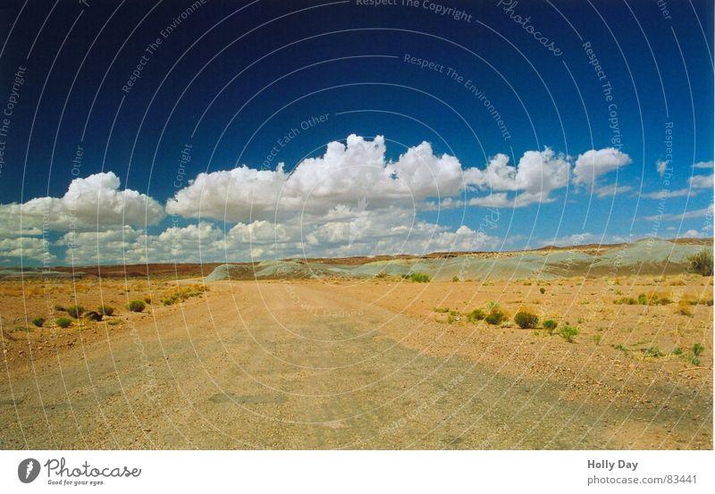 Auf der Piste Himmel blau Sommer Ferien & Urlaub & Reisen Wolken Einsamkeit Ferne Straße Wege & Pfade Sand Linie USA Sträucher Reisefotografie Ende Wüste