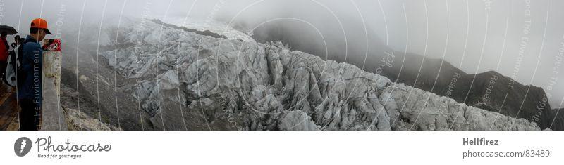 Lijiang von ganz oben Kettensteg Gletscher Steg Aussicht kalt Hochgebirge China Nebel Hochebene hart Bergkette Schneeschmelze driften Schleier Abraumhalden