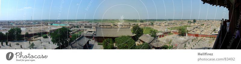 Hoch oben 2 China Pagode Holz Baustelle Entwicklung Asien Hütte Himmel Blauer Himmel Fortschritt