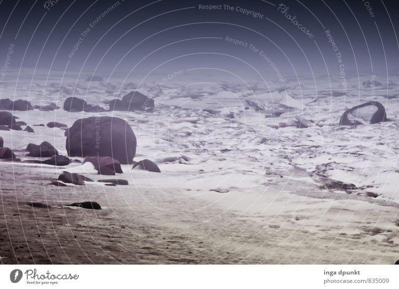 Eiszeit Umwelt Natur Landschaft Pflanze Urelemente Erde Sand Himmel Winter Klima Klimawandel Frost Schnee Küste Meer Insel Nordsee Wattenmeer