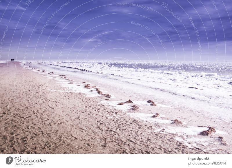 Schneestrand Umwelt Natur Landschaft Urelemente Erde Sand Winter Klima Klimawandel Eis Frost Wellen Küste Strand Meer Insel Föhr Nordsee Wattenmeer