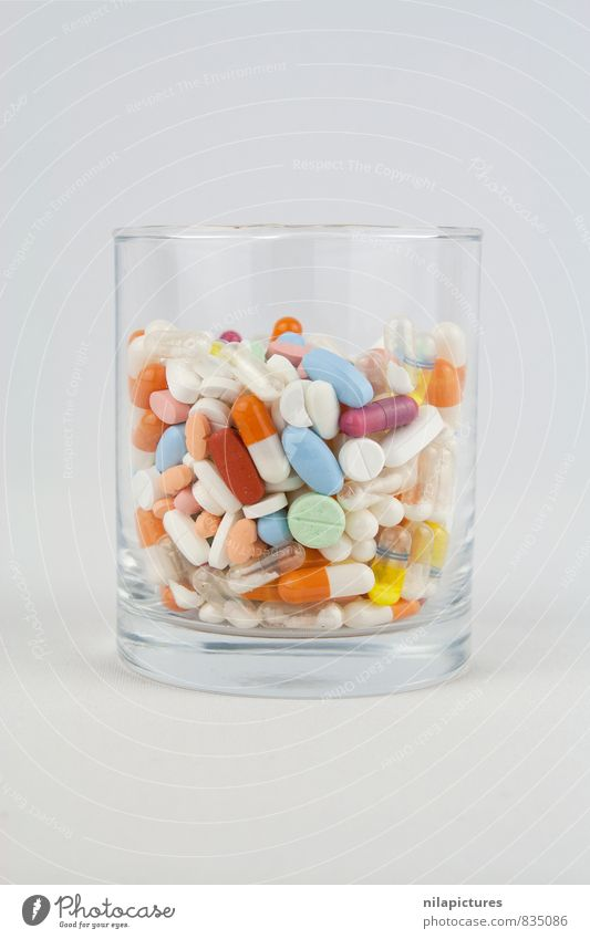 Glas voller Tabletten klein rund Schmerz Medikament Arzt Rauschmittel Krankenhaus Vitamin Versorgung Vielfältig Apotheke Oval Pharmazie Packung