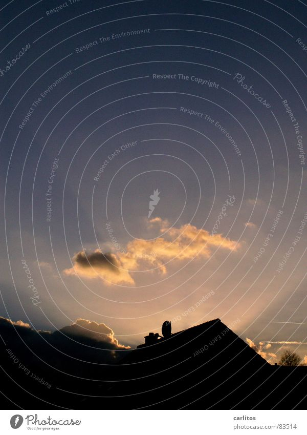 good day sunshine Sonnenstrahlen Dach Dachgiebel Kitsch Sonnenuntergang Zauberei u. Magie glänzend Wetter Wolken Meteorologie Umrisslinie Dämmerung