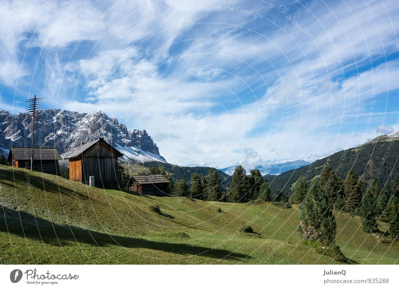Bergblick Natur Landschaft Himmel Wolken Hügel Alpen Berge u. Gebirge Schneebedeckte Gipfel Zufriedenheit Klima Himmel (Jenseits) Wolkenhimmel Berghütte