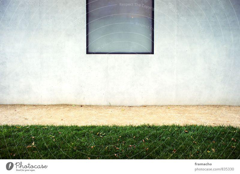 Fenster zum Hof Stadt ruhig Haus Wand Wiese Gras Architektur Mauer Gebäude Stil Sand Garten Kunst Wohnung Häusliches Leben